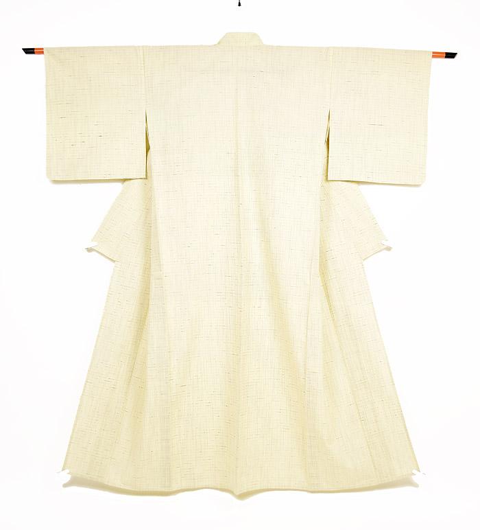 単衣、ぜんまい紬、生成色、全体画像