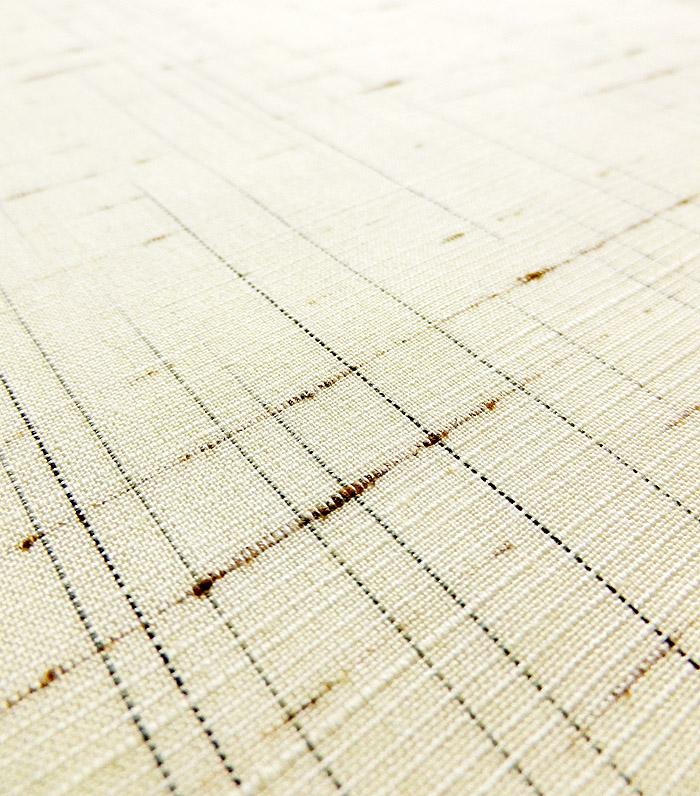 単衣、ぜんまい紬、生成色、生地のアップ画像