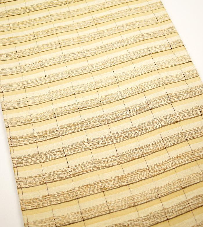 袋帯、全通、野蚕糸、横段、柄行模様画像