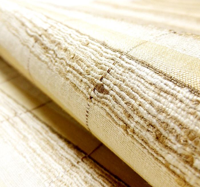 袋帯、全通、野蚕糸、横段、生地の質感画像