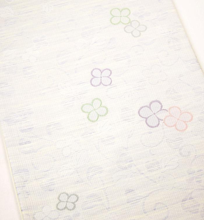 夏袋帯、六通、紗、唐草花びら文、柄行模様画像
