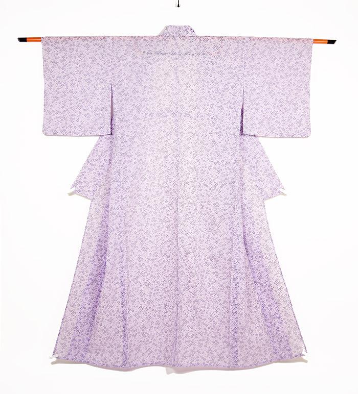 洗える夏着物、絽、小紋、パープル桜、全体画像