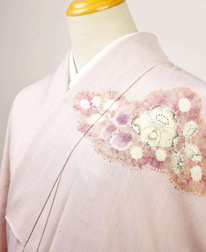 附下訪問着、紬、ピンク、辻が花、胸元画像