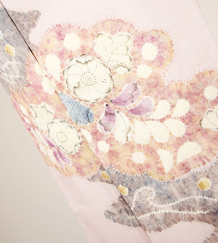 附下訪問着、紬、ピンク、辻が花、上前柄行模様画像1