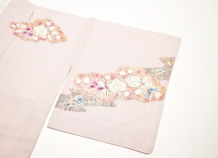 附下訪問着、紬、ピンク、辻が花、右前袖画像