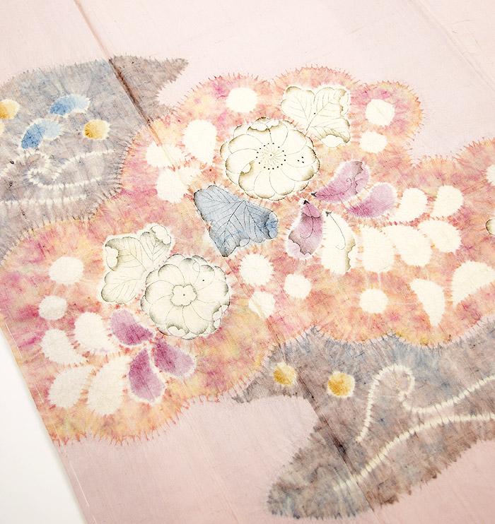 附下訪問着、紬、ピンク、辻が花、上前画像2