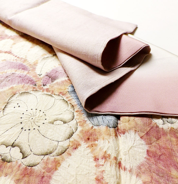 附下訪問着、紬、ピンク、辻が花、生地の厚み画像