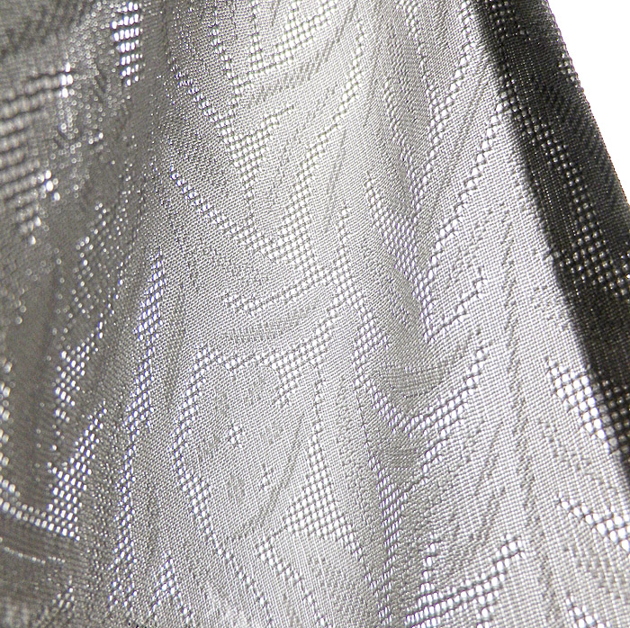 夏着物、小紋、紋紗、グレーパープルぼかし、葡萄、生地の透け感画像