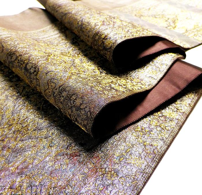 袋帯、六通、本場大島紬織込袋帯、正倉院柄、特許商品、生地の厚み画像