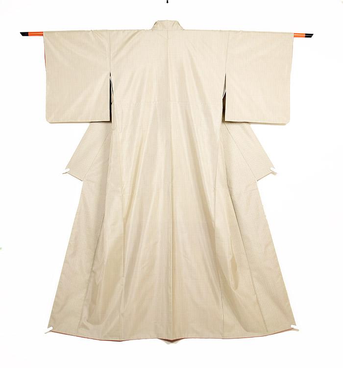 大島紬、ベージュ、縞、全体画像