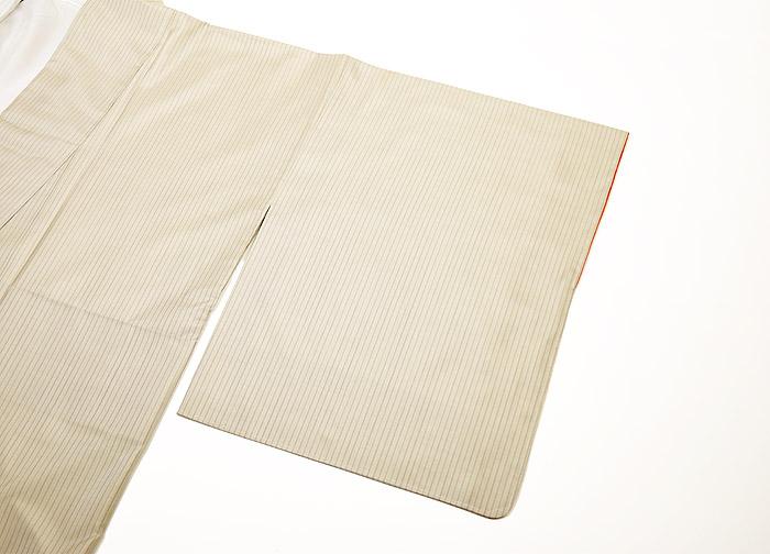 大島紬、ベージュ、縞、袖画像