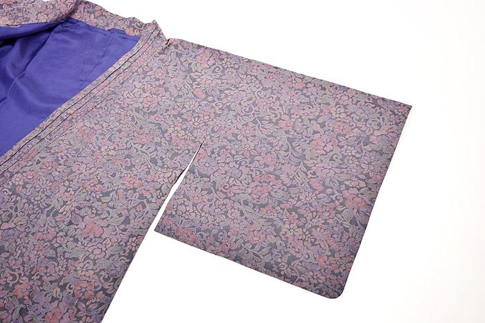 道中着、灰紫、草花文、袖画像