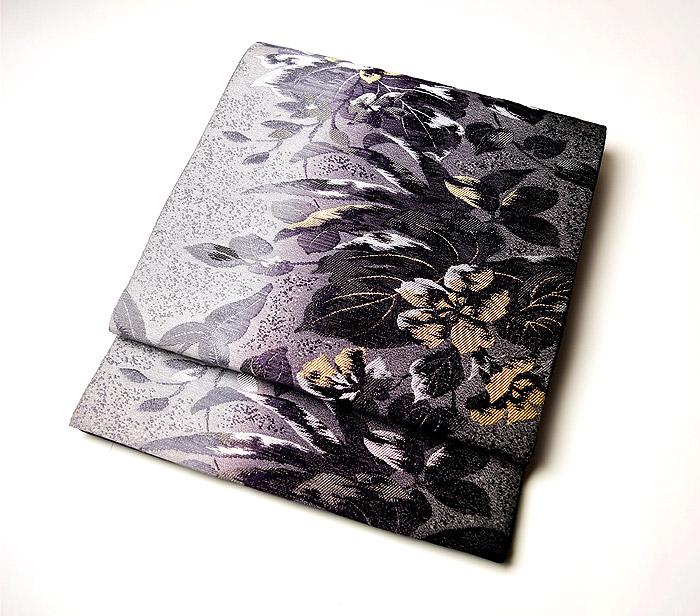 袋帯、西陣織、六通、灰紫花、お太鼓画像
