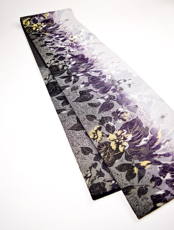 袋帯、西陣織、六通、灰紫花、全体画像