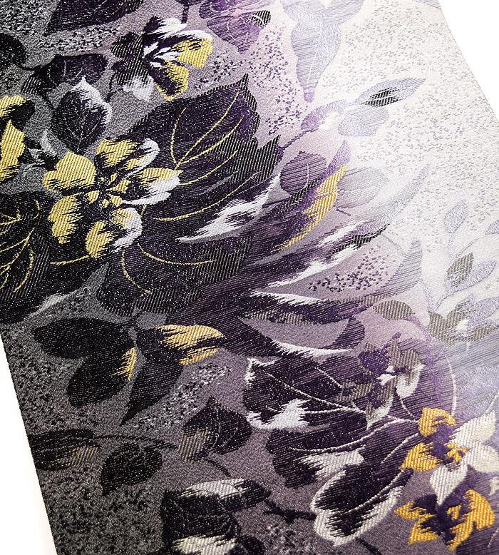 袋帯、西陣織、六通、灰紫花、柄行模様画像