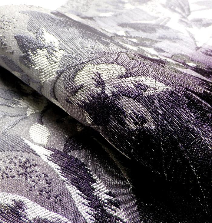 袋帯、西陣織、六通、灰紫花、生地の質感画像