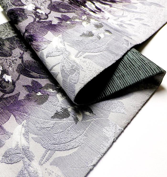 袋帯、西陣織、六通、灰紫花、生地の厚み画像